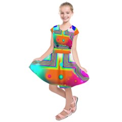Crossroads Of Awakening, Abstract Rainbow Doorway  Kids  Short Sleeve Dress