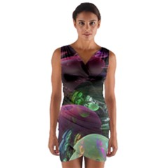 Creation Of The Rainbow Galaxy, Abstract Wrap Front Bodycon Dress