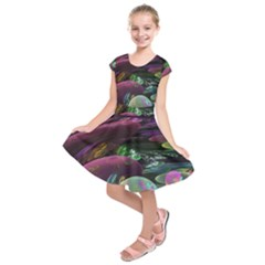 Creation Of The Rainbow Galaxy, Abstract Kids  Short Sleeve Dress