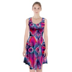 Cosmic Heart Of Fire, Abstract Crystal Palace Racerback Midi Dress