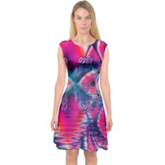 Cosmic Heart Of Fire, Abstract Crystal Palace Capsleeve Midi Dress