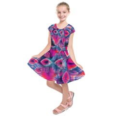 Cosmic Heart Of Fire, Abstract Crystal Palace Kids  Short Sleeve Dress