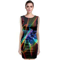 Aurora Ribbons, Abstract Rainbow Veils  Classic Sleeveless Midi Dress