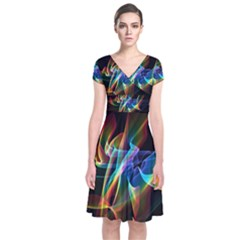Aurora Ribbons, Abstract Rainbow Veils  Short Sleeve Front Wrap Dress