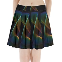 Abstract Rainbow Lily, Colorful Mystical Flower  Pleated Mini Skirt