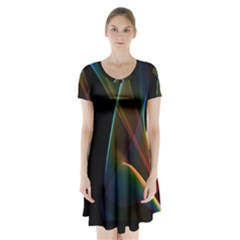 Abstract Rainbow Lily, Colorful Mystical Flower  Short Sleeve V Neck Flare Dress