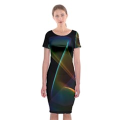 Abstract Rainbow Lily, Colorful Mystical Flower  Classic Short Sleeve Midi Dress