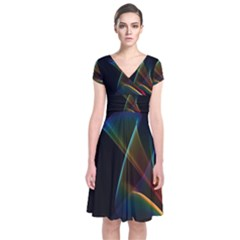 Abstract Rainbow Lily, Colorful Mystical Flower  Short Sleeve Front Wrap Dress