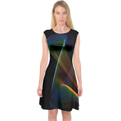 Abstract Rainbow Lily, Colorful Mystical Flower  Capsleeve Midi Dress