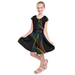 Abstract Rainbow Lily, Colorful Mystical Flower  Kids  Short Sleeve Dress
