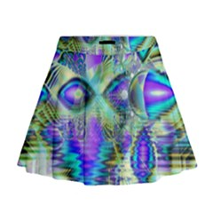 Abstract Peacock Celebration, Golden Violet Teal Mini Flare Skirt