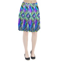 Abstract Peacock Celebration, Golden Violet Teal Pleated Skirt