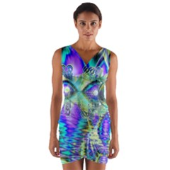 Abstract Peacock Celebration, Golden Violet Teal Wrap Front Bodycon Dress