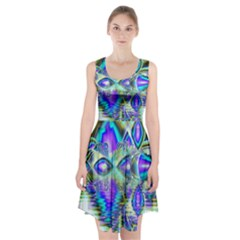 Abstract Peacock Celebration, Golden Violet Teal Racerback Midi Dress