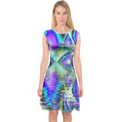 Abstract Peacock Celebration, Golden Violet Teal Capsleeve Midi Dress