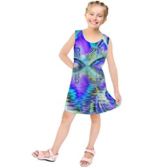 Abstract Peacock Celebration, Golden Violet Teal Kids  Tunic Dress
