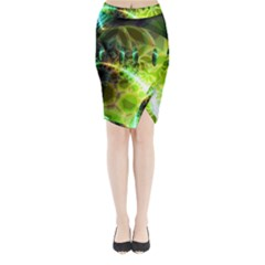Dawn Of Time, Abstract Lime & Gold Emerge Midi Wrap Pencil Skirt
