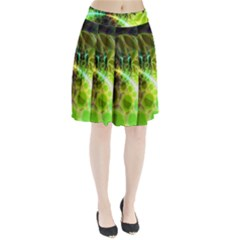 Dawn Of Time, Abstract Lime & Gold Emerge Pleated Skirt