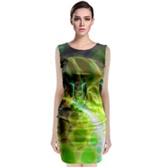 Dawn Of Time, Abstract Lime & Gold Emerge Classic Sleeveless Midi Dress