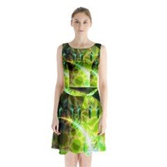 Dawn Of Time, Abstract Lime & Gold Emerge Sleeveless Chiffon Waist Tie Dress