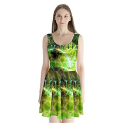 Dawn Of Time, Abstract Lime & Gold Emerge Split Back Mini Dress