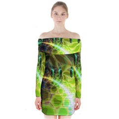 Dawn Of Time, Abstract Lime & Gold Emerge Long Sleeve Off Shoulder Dress
