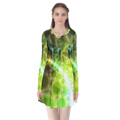 Dawn Of Time, Abstract Lime & Gold Emerge Flare Dress