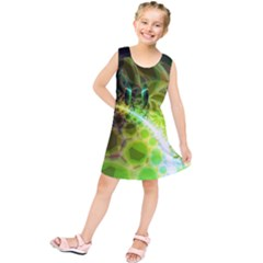 Dawn Of Time, Abstract Lime & Gold Emerge Kids  Tunic Dress