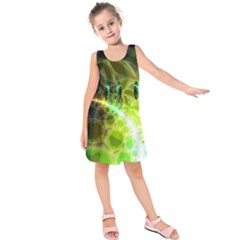 Dawn Of Time, Abstract Lime & Gold Emerge Kids  Sleeveless Dress