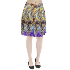 Desert Winds, Abstract Gold Purple Cactus  Pleated Skirt