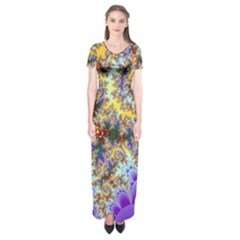 Desert Winds, Abstract Gold Purple Cactus  Short Sleeve Maxi Dress