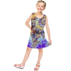 Desert Winds, Abstract Gold Purple Cactus  Kids  Tunic Dress