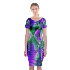Evening Crystal Primrose, Abstract Night Flowers Classic Short Sleeve Midi Dress