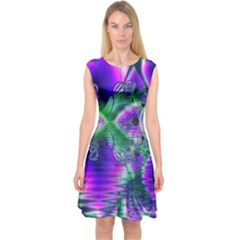 Evening Crystal Primrose, Abstract Night Flowers Capsleeve Midi Dress