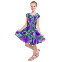 Evening Crystal Primrose, Abstract Night Flowers Kids  Short Sleeve Dress