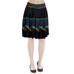 Flowing Fabric Of Rainbow Light, Abstract  Pleated Skirt