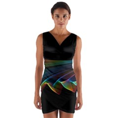 Flowing Fabric Of Rainbow Light, Abstract  Wrap Front Bodycon Dress