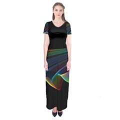 Flowing Fabric Of Rainbow Light, Abstract  Short Sleeve Maxi Dress