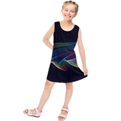 Flowing Fabric Of Rainbow Light, Abstract  Kids  Tunic Dress