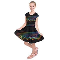 Flowing Fabric of Rainbow Light, Abstract  Kids  Short Sleeve Dress