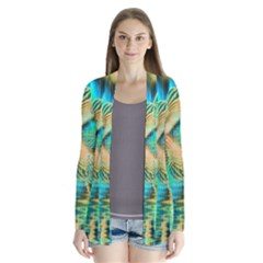 Golden Teal Peacock, Abstract Copper Crystal Cardigans