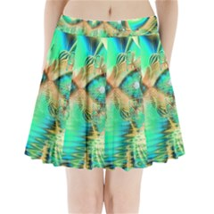 Golden Teal Peacock, Abstract Copper Crystal Pleated Mini Skirt