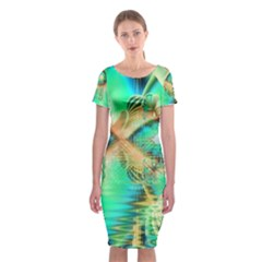 Golden Teal Peacock, Abstract Copper Crystal Classic Short Sleeve Midi Dress