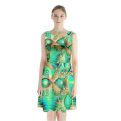 Golden Teal Peacock, Abstract Copper Crystal Sleeveless Chiffon Waist Tie Dress