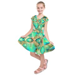 Golden Teal Peacock, Abstract Copper Crystal Kids  Short Sleeve Dress