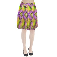 Golden Violet Crystal Heart Of Fire, Abstract Pleated Skirt