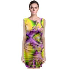 Golden Violet Crystal Heart Of Fire, Abstract Classic Sleeveless Midi Dress