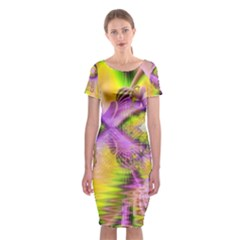 Golden Violet Crystal Heart Of Fire, Abstract Classic Short Sleeve Midi Dress