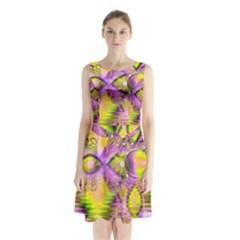 Golden Violet Crystal Heart Of Fire, Abstract Sleeveless Chiffon Waist Tie Dress