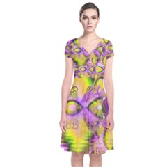 Golden Violet Crystal Heart Of Fire, Abstract Short Sleeve Front Wrap Dress